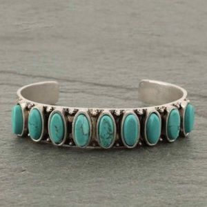 Turquoise Natural Stone Cuff Bracelet